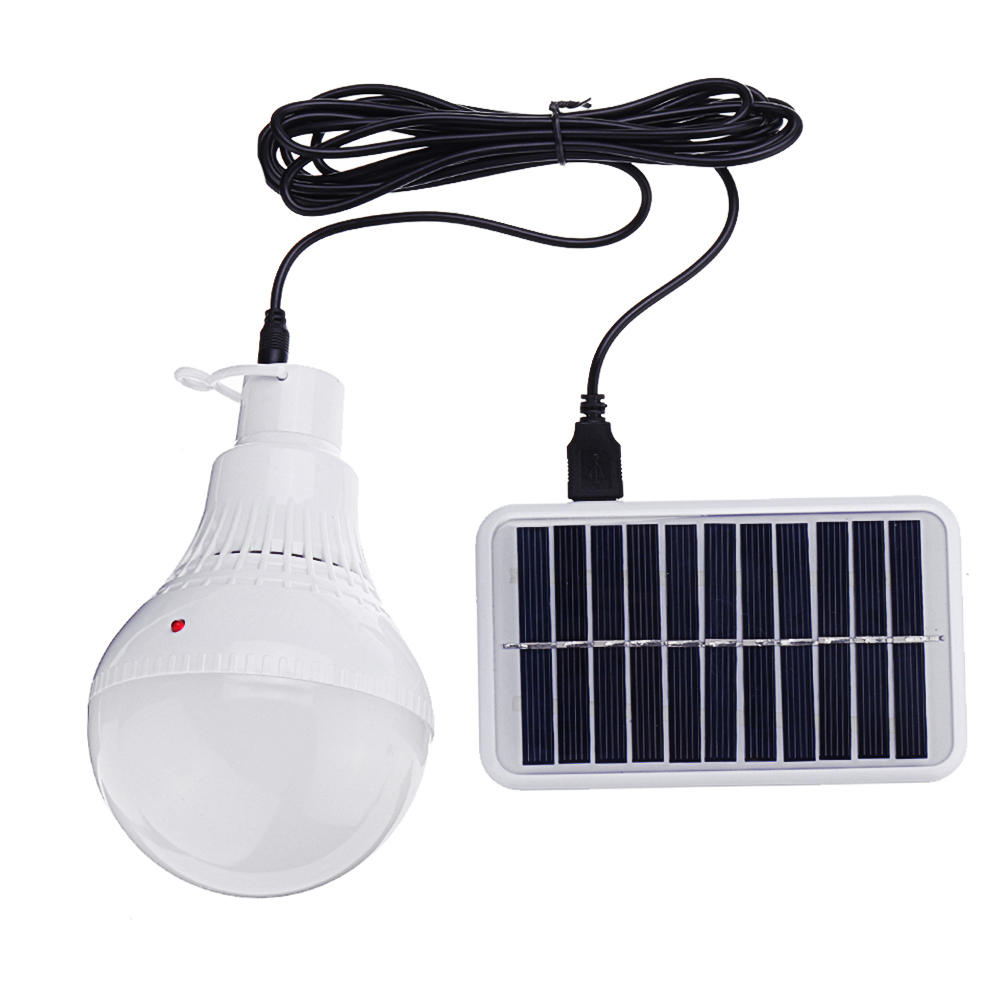 7W Portable Solar Panel USBLED Camping Bulb Light for Outdoor Emergency Fishing Lamp
