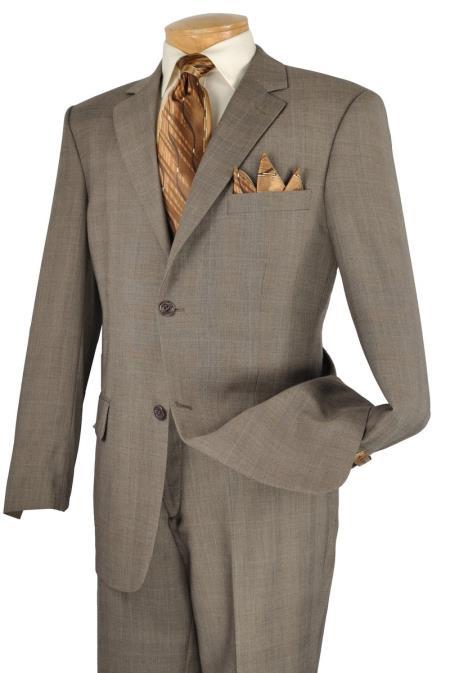 Executive 2 Piece 2 Button Suit Taupe