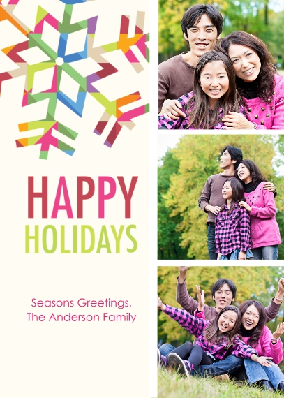 Holiday Photo Cards 5x7 Cards, Premium Cardstock 120lb with Rounded Corners, Card & Stationery -Prism Snowflake