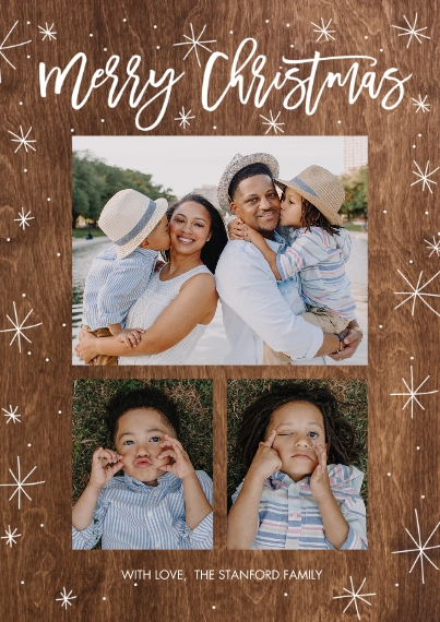 Christmas Photo Cards Flat Matte Photo Paper Cards with Envelopes, 5x7, Card & Stationery -Christmas Stars Rustic by Tumbalina