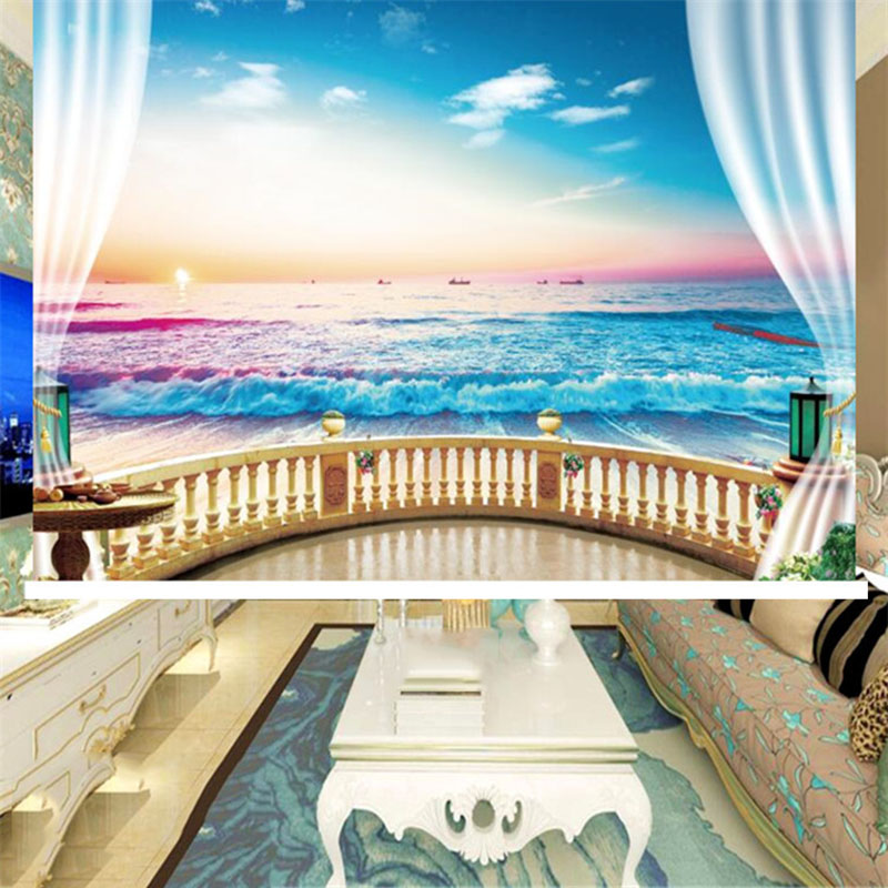 3D Sea Scenery Printed Decoration Heat Insulation Waterproof Blackout Roller Shades No Pilling No Fading No off-lining