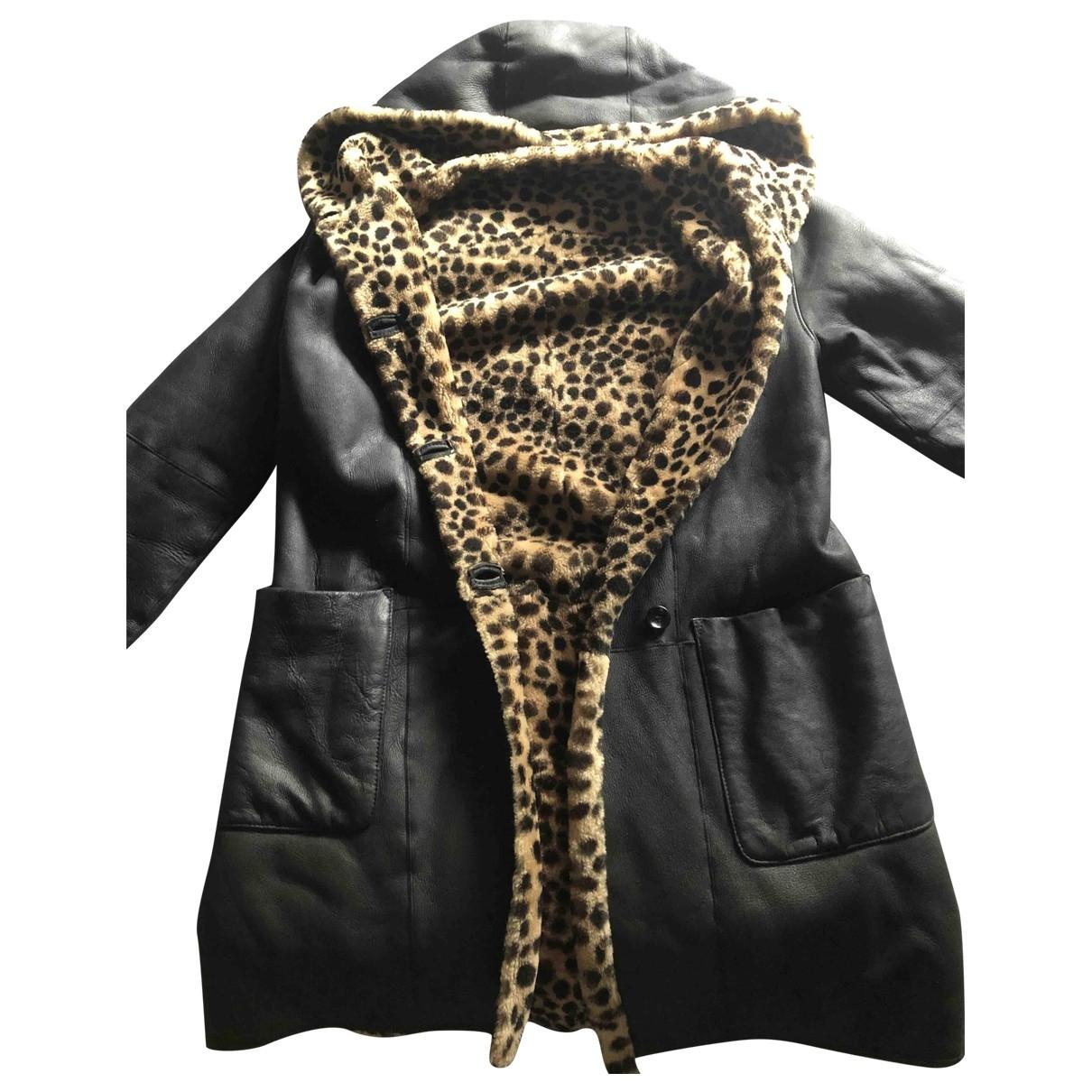 Yves Salomon \N Black Leather coat for Women 36 FR