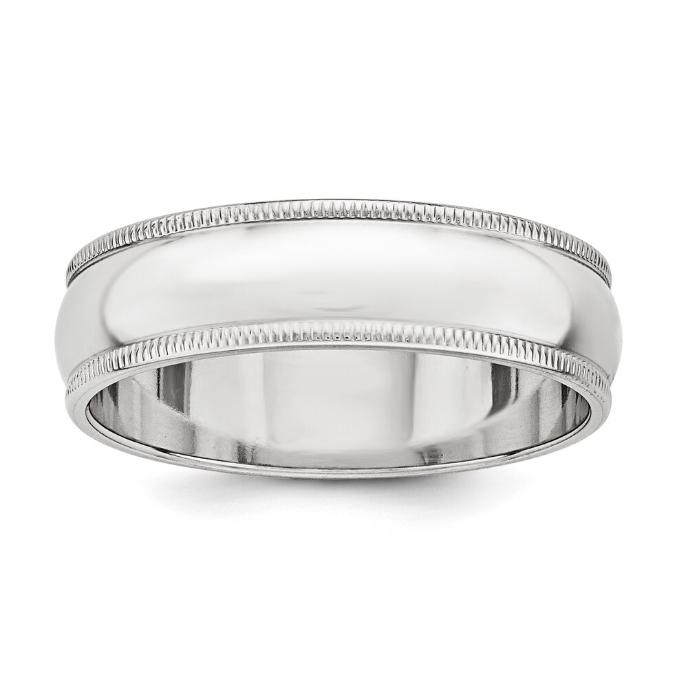 Sterling Silver 6mm Half Round Milgrain Band - White by Versil (7)