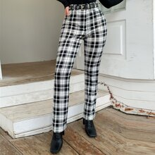 Eilly Bazar Plaid Straight Leg Pants Without Belt