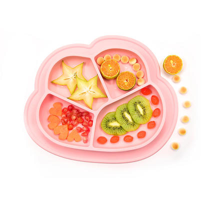 Silicone Baby Toddler Divided Plate, BPA Free, Microwave Dishwasher Safe
