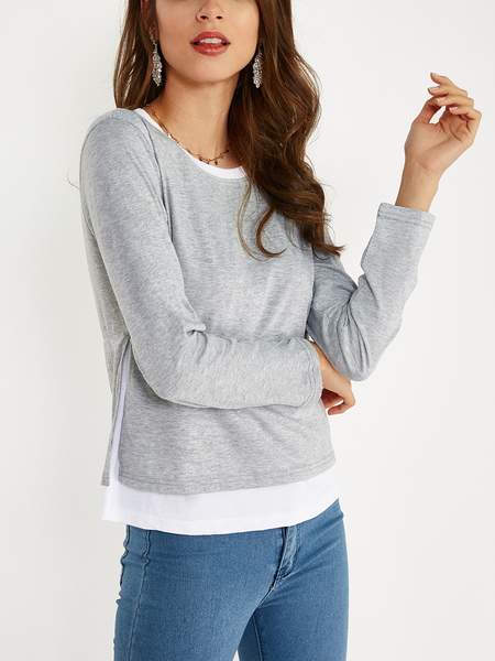 Yoins Grey Cozy Round Neck Long Sleeves Slit Side Two in One Top