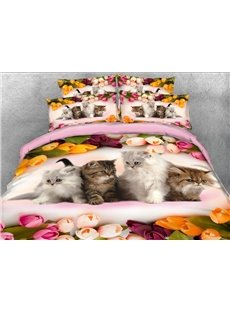 Kittens and Colorful Tulips Printed 4-Piece 3D Bedding Sets/Duvet Covers