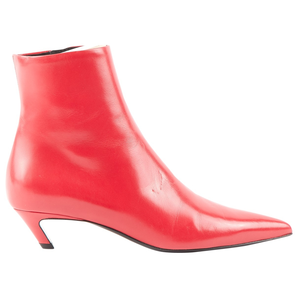 Balenciaga \N Red Leather Ankle boots for Women 38 EU