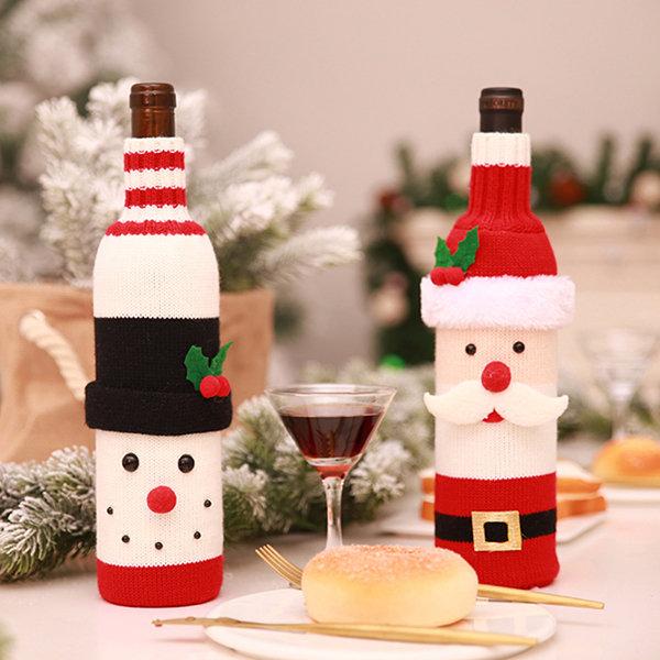 Christmas Santa Claus Knitting Red Wine Bottle Cover For Bar Xmas Snowman Bottle Bag