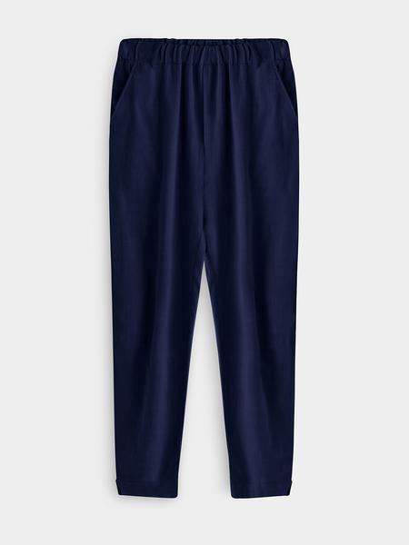 Yoins Solid Color Linen Men's Casual Harem Pnats In Blue