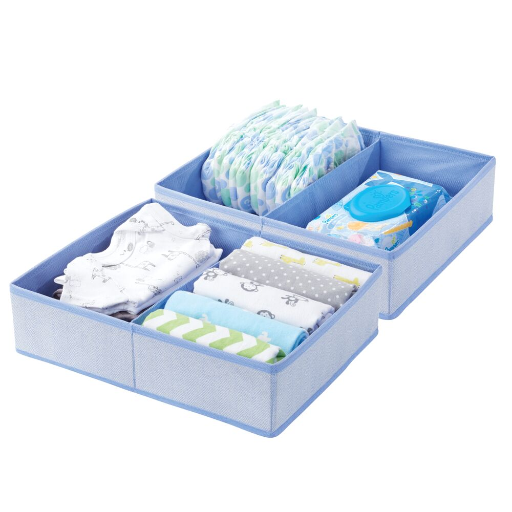 Large 2 Section Kids Fabric Dresser Drawer Organizer in Blue Herringbone, 12.375