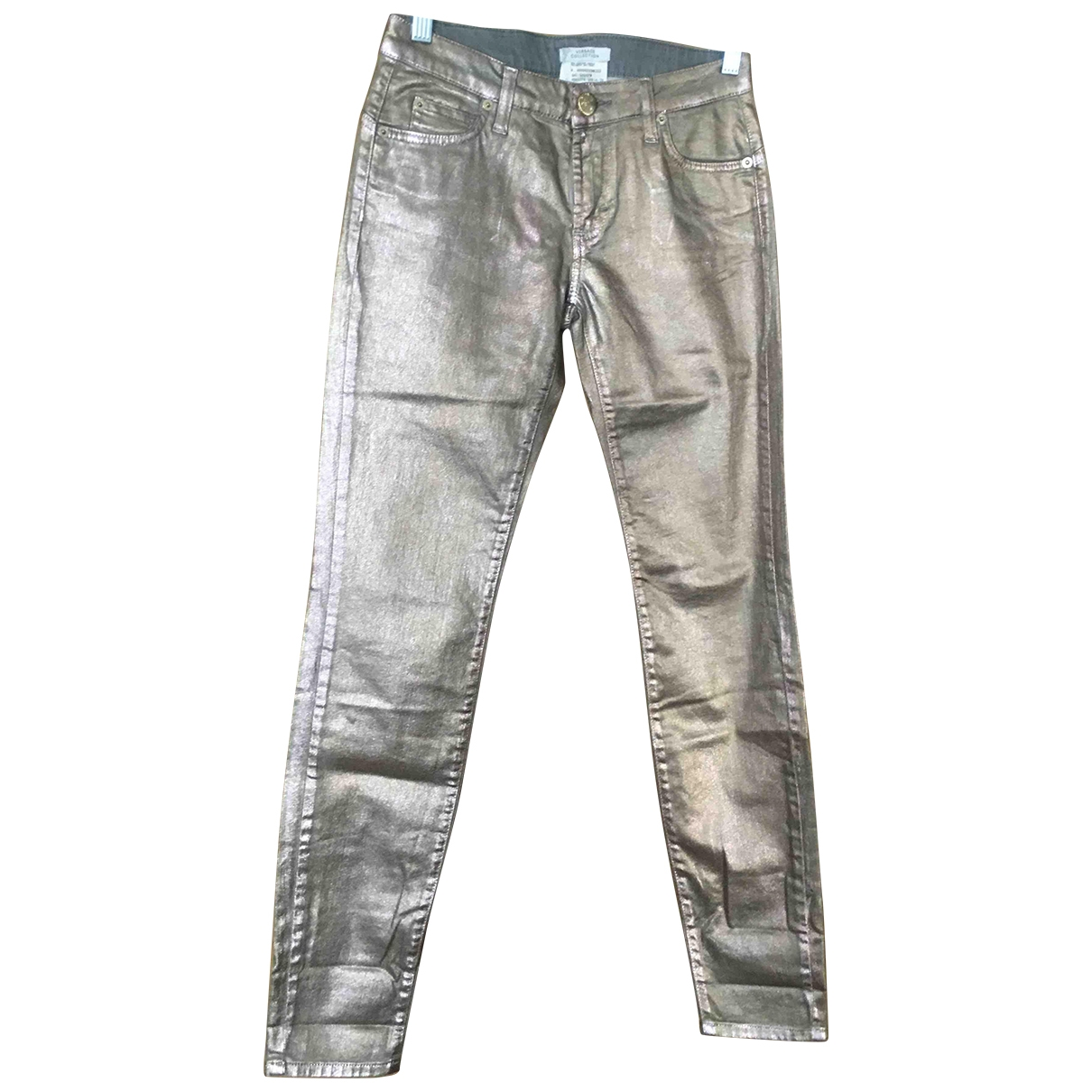 Versace \N Gold Cotton Jeans for Women 26 US