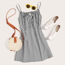 Knot Front Gingham Cami Dress