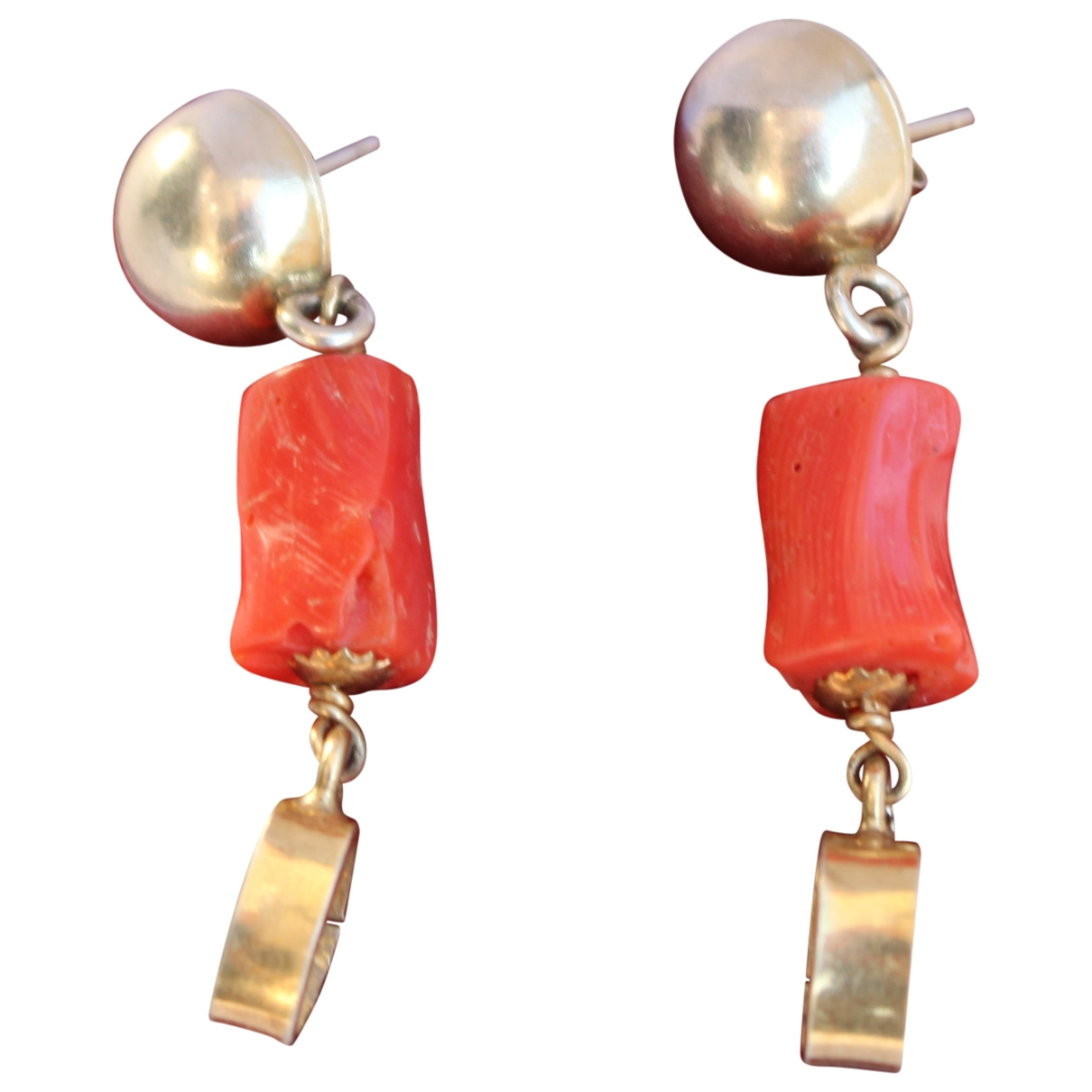 Non Signé / Unsigned Corail Red Silver Earrings for Women \N