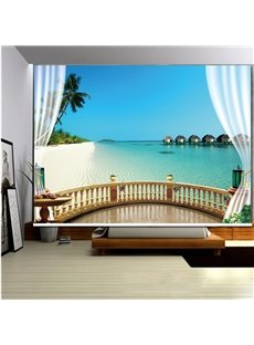 Beach Scenery outside the Balcony 3D Printed Roller Shades