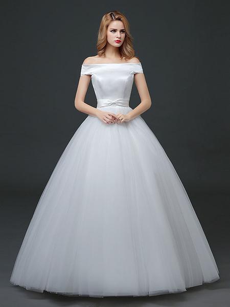 Milanoo Princess Wedding Dresses Off The Shoulder Satin Tulle Bridal Dress Bow Sash Floor Length Bridal Gown