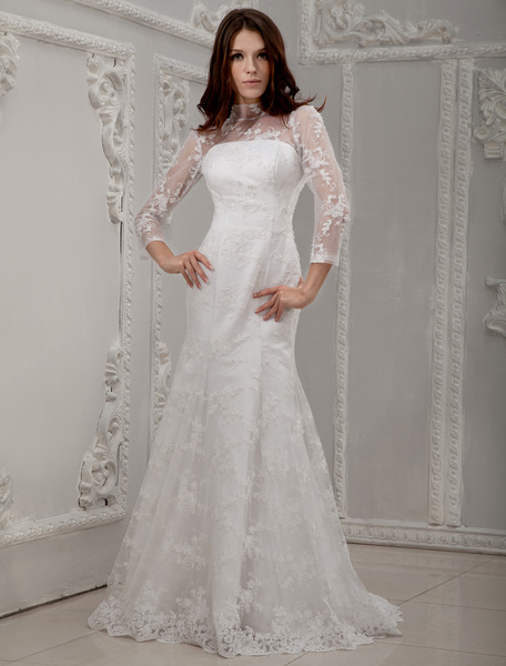 Milanoo White Long Lace Sleeves Bridal Wedding Dress