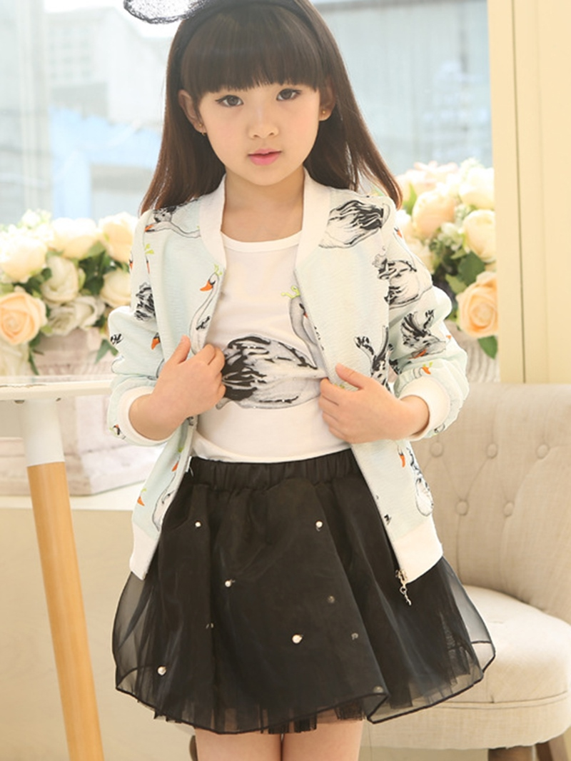 Ericdress Swan Printed Bead-Trim Mesh Three-Piece Girls Outfits