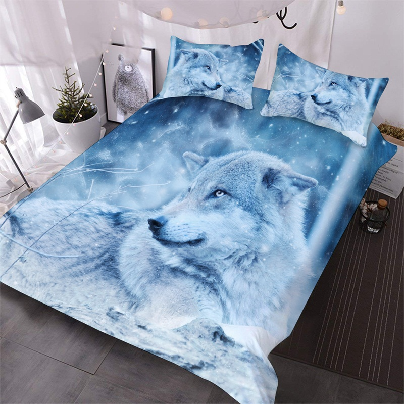 The Wolf In The White Snow Printed 3-Piece Comforter Sets