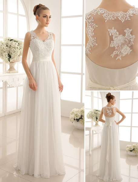 Milanoo Ivory Wedding Dress Lace Sash Bow Sequins Wedding Gown