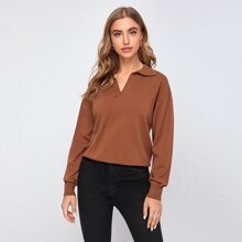 V-collar Drop Shoulder Solid Sweater