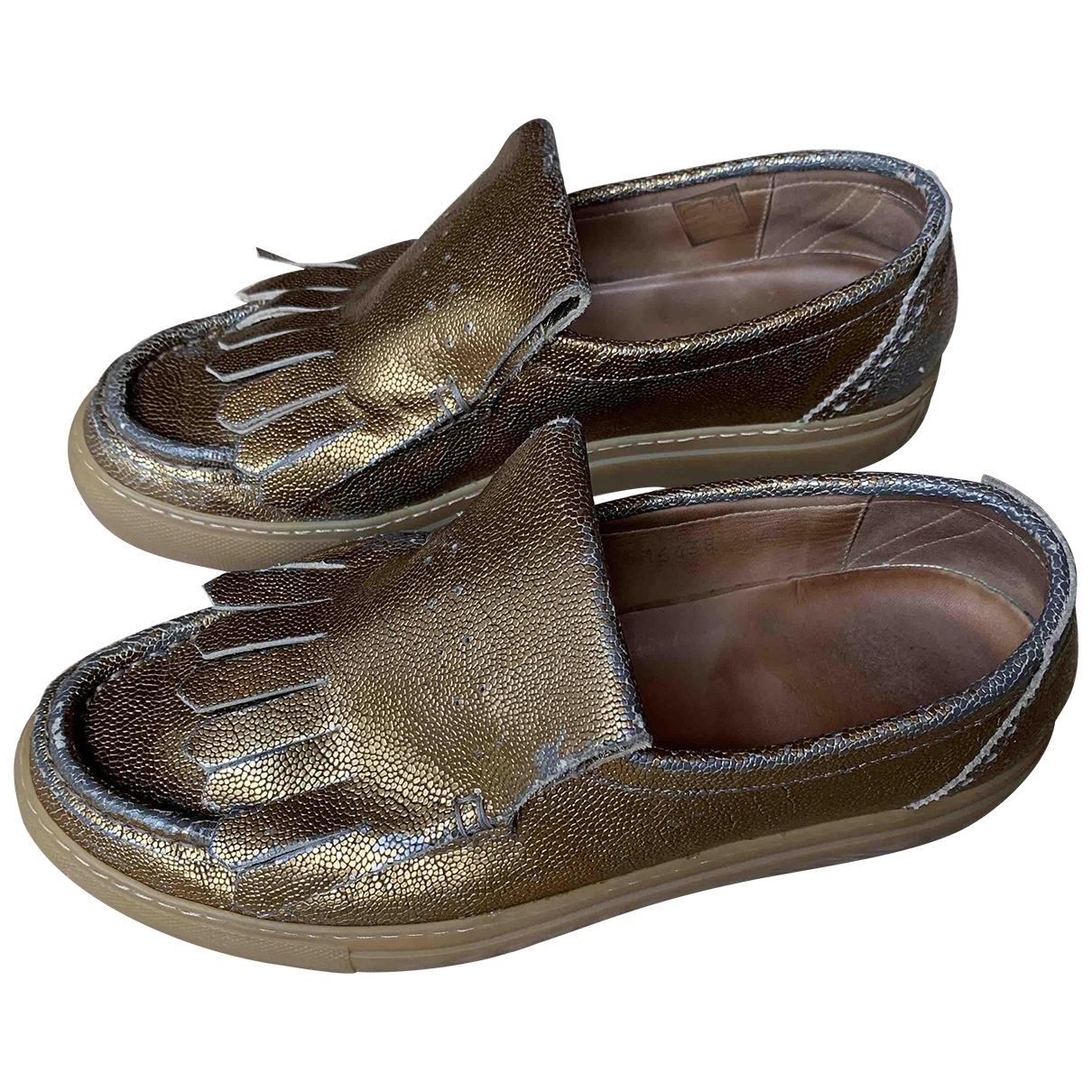 Dries Van Noten \N Gold Leather Flats for Women 40 EU