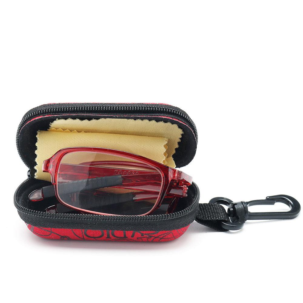 Mens Women TR90 Foldable Ultralight Metal Frame Vision Care Reading Glasses Eyeglasses With Case