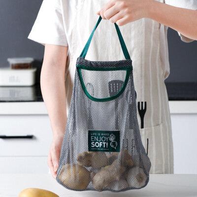 Kitchen Hanging Mesh Storage Bag Reusable Grocery Potato Garlic Fruit Organizer