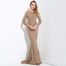 Fishtail Hem Glitter Mesh Prom Dress