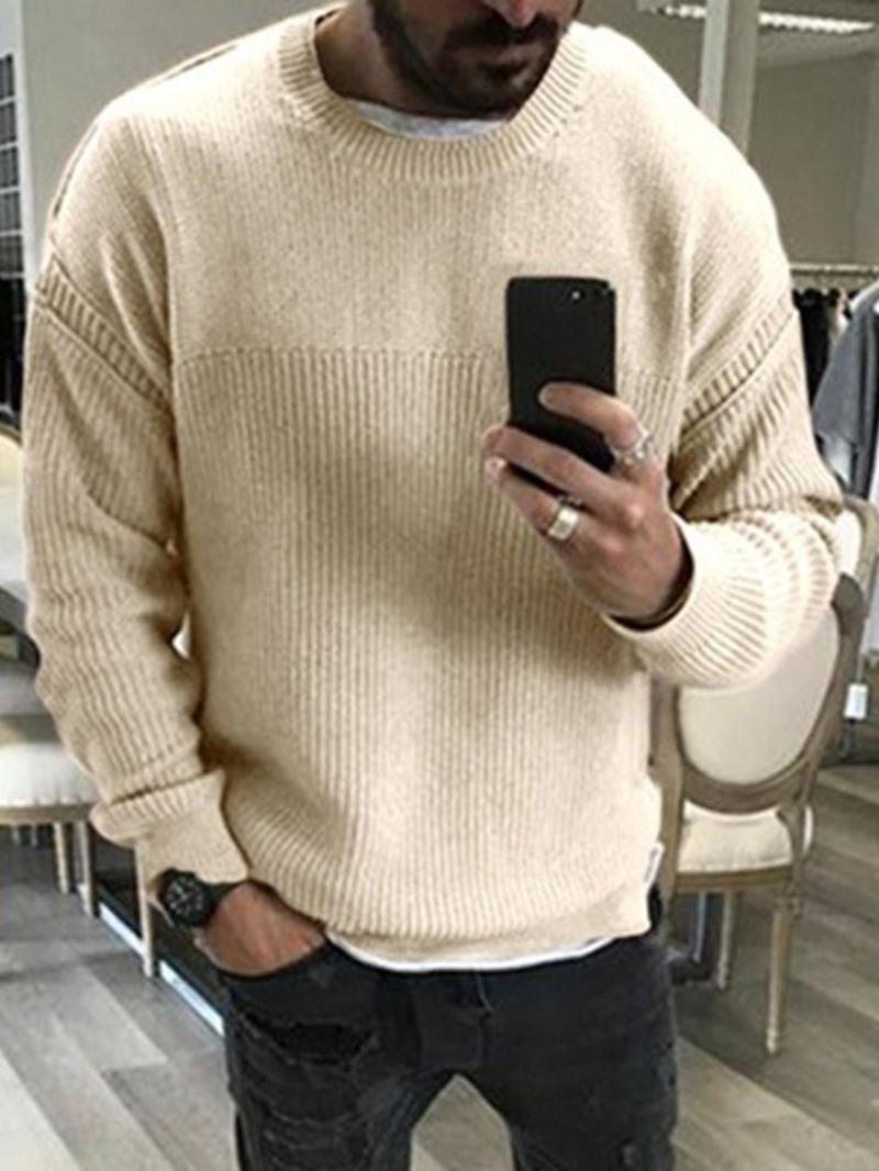 Ericdress Standard Round Neck Plain Loose Men's Casual Sweater