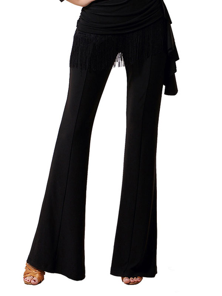 Milanoo Dance Costumes Latin Dancer Dresses Black Long Flared Pants Bottoms For Women Dancing Clothing Hallloween