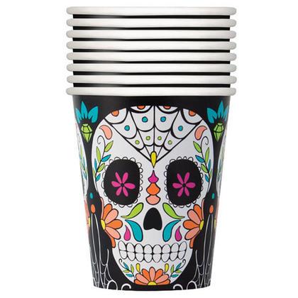 Jour de crâne d'Halloween des tasses de fête morte pour la décoration intérieure, 9 oz. 8pcs