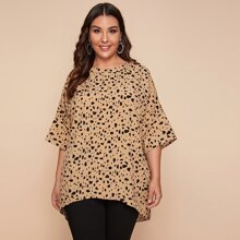 Plus Button Front Dalmatian Print Blouse