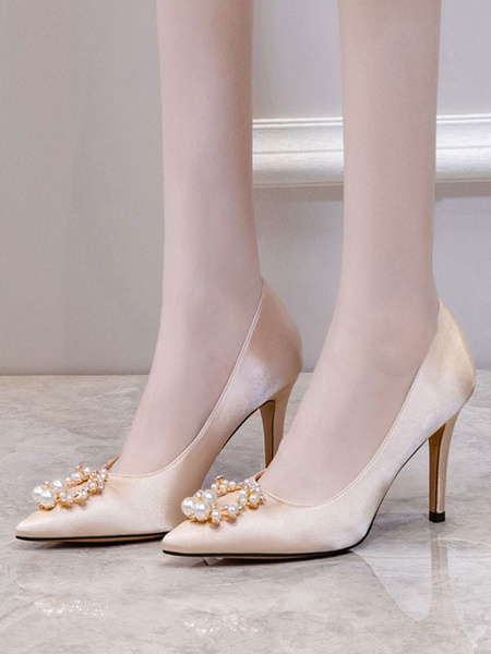 Milanoo High Heel Party Shoes Apricot Pointed Toe Pearls Evening shoes