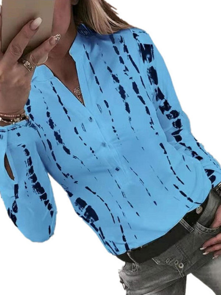 Milanoo Blouse For Women Blue V-Neck Casual Printed Long Sleeves Tops