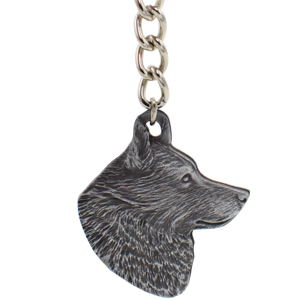 Dog Breed Keychain USA Pewter - Schipperke (2.5