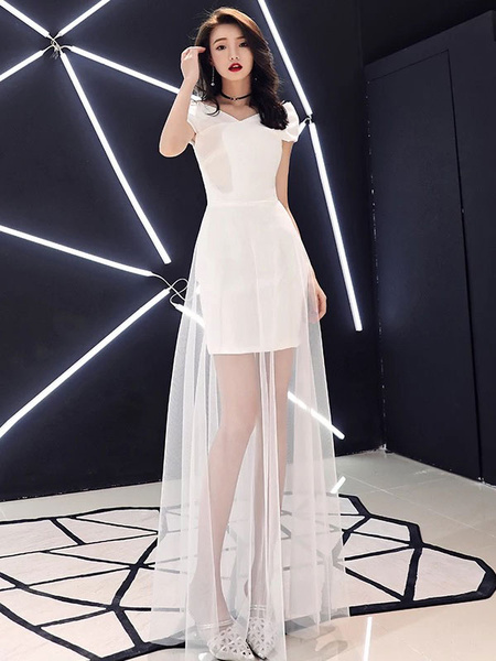 Milanoo White Prom Dresses Long Illusion Short Sleeve Formal Party Dress