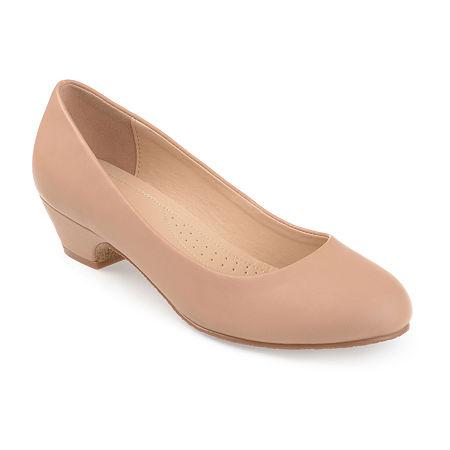 Journee Collection Womens Saar Pumps Block Heel, 8 Medium, Beige