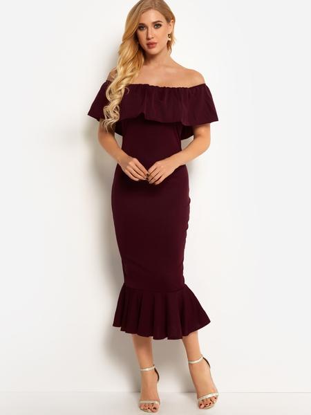 Yoins Burgundy Off The Shoulder Short Sleeves Mermaid Dress