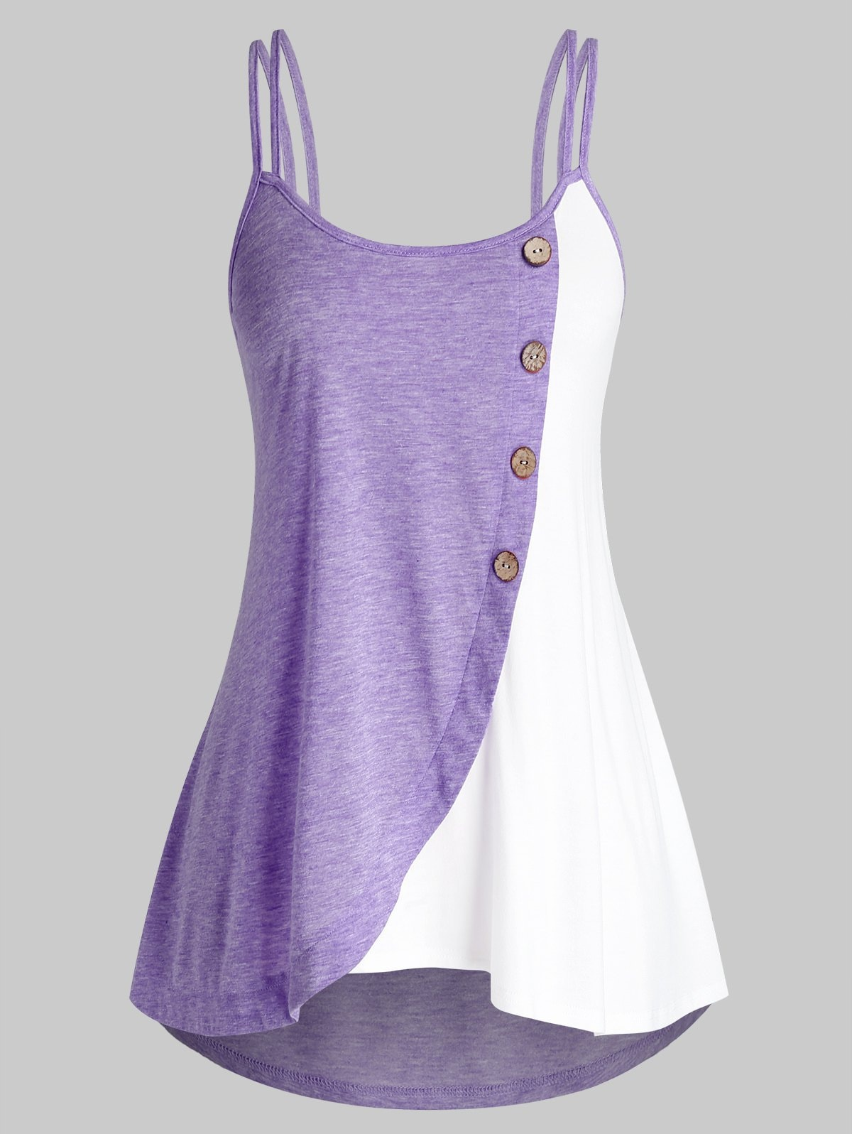 Plus Size Button Colorblock Tank Top