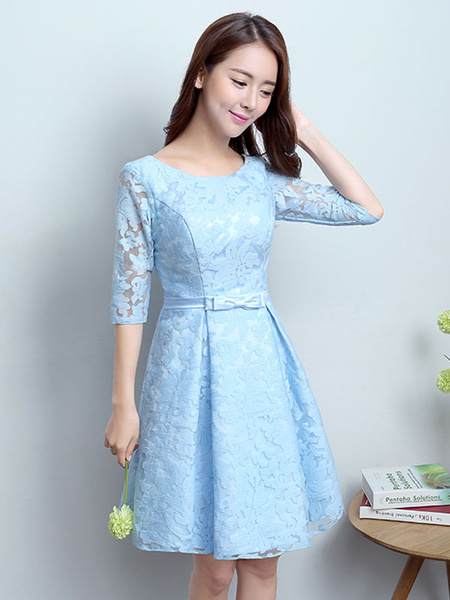 Milanoo Lace Cocktail Dresses Short Homecoming Dress A Line Bow Sash Baby Blue Formal Party Dress