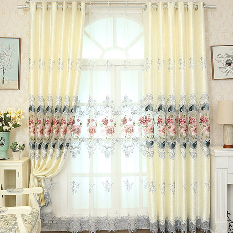 Elegant Embroidered Sheer Curtains Custom 2 Panels Drapes for Living Room No Pilling No Fading No off-lining