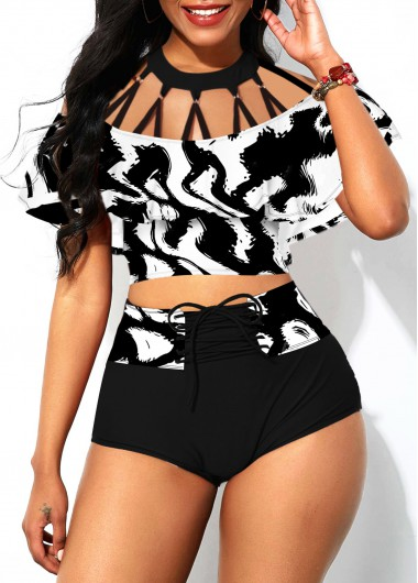 Rosewe Women Black And White Foldover Front Strappy High Waisted Bikini Swimsuit Lace Up Strappy Neck Overlay Padded Wire Free Bathing Suit - M