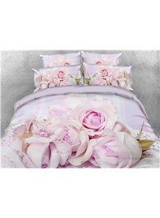 3D Light Purple Flowers Digital Printing Cotton 4-Piece Bedding Sets/Duvet Covers
