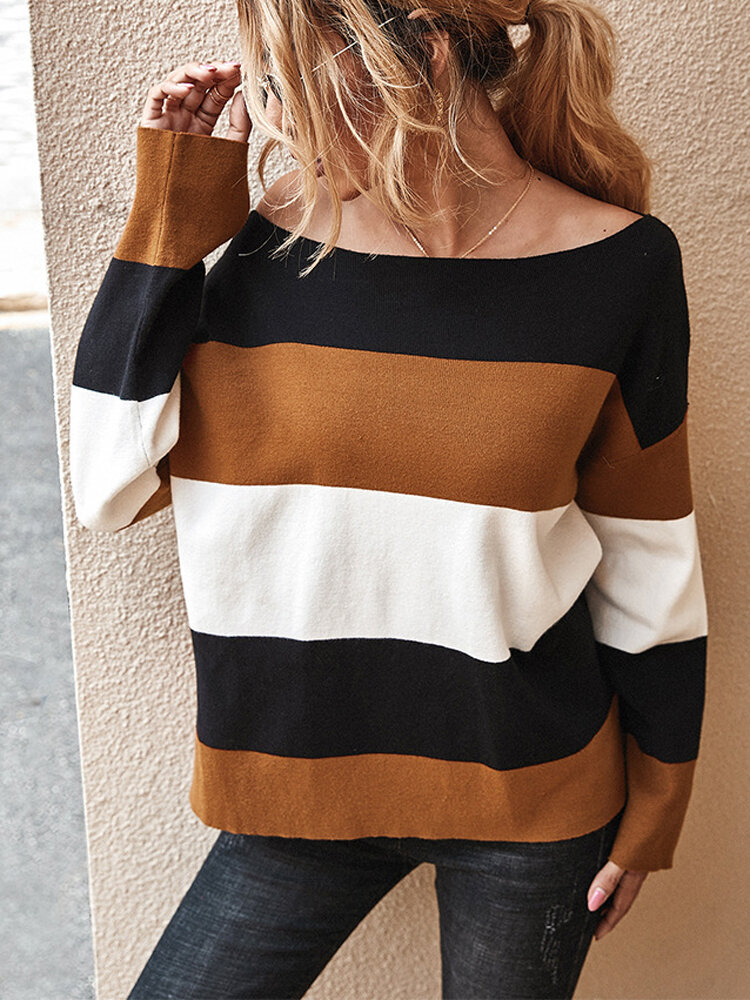 Striped Color Block Knit O-neck Long Sleeve Sweater