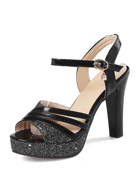 Milanoo High Heel Sandals Womens Black Open Toe Slingback Chunky Heels Sandals