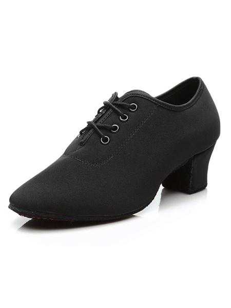 Milanoo Latin Dance Shoes Black Round Toe Chunky Heel Lace Up Women Shoes