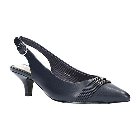 Easy Street Womens Maeve Pumps Kitten Heel, 6 Medium, Blue