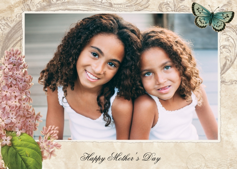 Mother's Day Cards 5x7 Folded Cards, Premium Cardstock 120lb, Card & Stationery -Lilacs And Butterfly