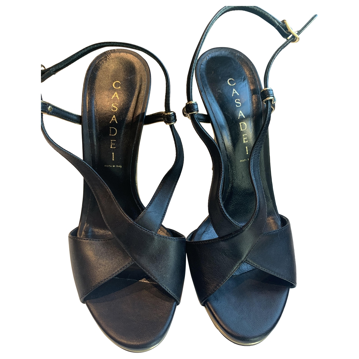 Casadei \N Black Leather Sandals for Women 37.5 IT